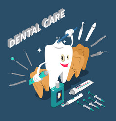 Dental care isometric concept vector