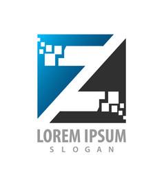 digital initial letter z logo concept design vector image