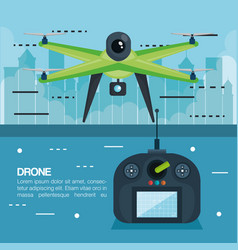 drone with remote control technology icon vector image
