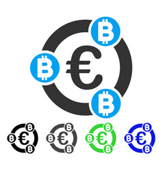 Euro bitcoin collaboration flat icon vector