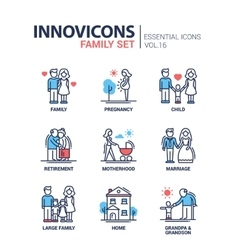 Family - line design icons set vector