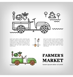 Farmers market logotype Farm tractor icon thin vector image