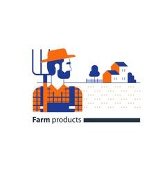 Farming industry farmer with fork farm house vector image