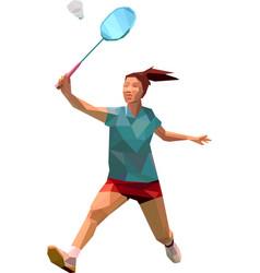 Female badminton player polygonal athelete vector