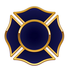 Fire rescue logo base dark blue with gold trim vector