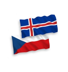 Flags czech republic and iceland on a white vector