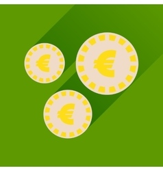 Flat icon with long shadow Euro coins vector
