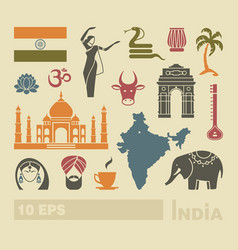 flat icons india vector image