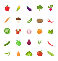 Flat vegetables set vector