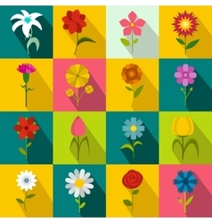 Flower icons set flat style vector image