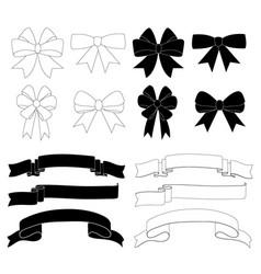 gift bow ribbon decoration icon set vector image vector image