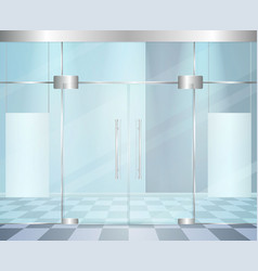 Glossy modern doors composition vector
