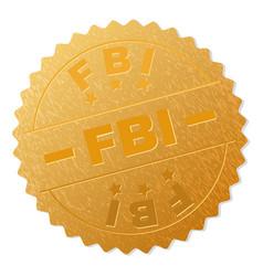 Gold fbi medal stamp vector