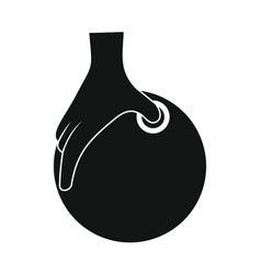 Hand with ball for bowling in silhouette style vector