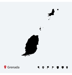 High detailed map of Grenada with navigation pins vector image