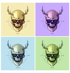 Hipster skulls pop art vector
