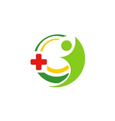 Hospital medic cross people logo vector