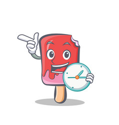 Ice cream character cartoon with clock vector