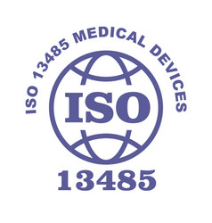 Iso 13485 stamp sign - medical devices quality vector