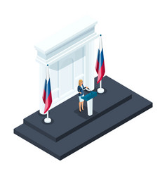 isometry is a woman president candidate speaks vector image