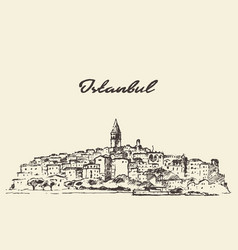 Istanbul skyline turkey drawn sketch vector