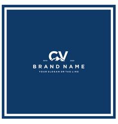 Letter cv mountain logo design vector