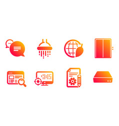 Lift documentation and environment day icons set vector