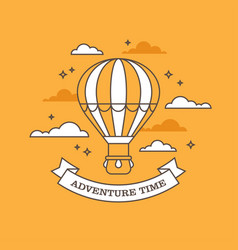 Linear air balloon on orange background vector