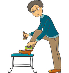 Man cleans his shoes vector
