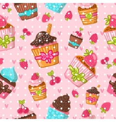 Muffin seamless pattern Cupcake background Hand vector image