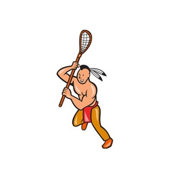 Native American Lacrosse Player Crosse Stick vector
