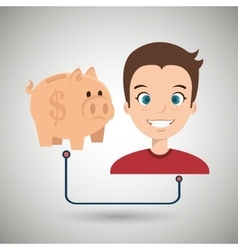 persons with piggy isolated icon design vector image