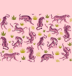 pink tigers and tropical leaves seamless vector image