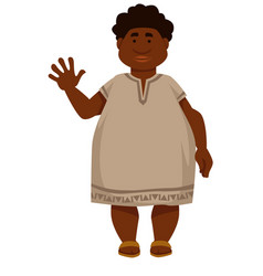 Plump african man in long shirt and sandals vector
