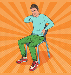 Pop art man suffering from back and neck pain vector