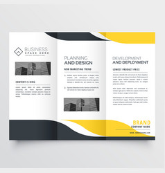 Professional yellow black modern trifold brochure vector