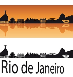 Rio de Janeiro skyline in orange background vector image