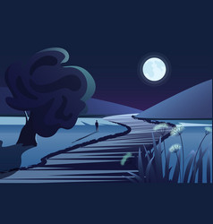 river or lake near mountains in deep night vector image