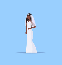 romantic bride in white dress african american vector image