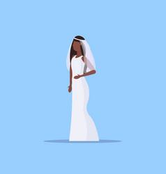 Romantic bride in white dress african american vector
