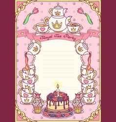 Royal tea party template vector