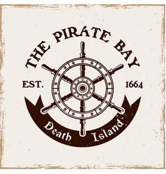 rudder wheel pirate emblem in vintage style vector image