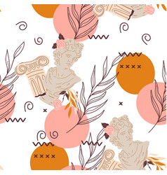 Seamless endless pattern with antique sculpture vector