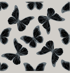 Seamless pattern with hand drawn stylized morpho vector