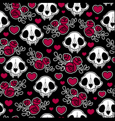 seamless with composition animal skulls vector image