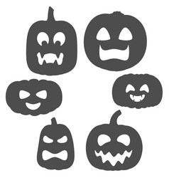 set black and white pumpkins with faces vector image