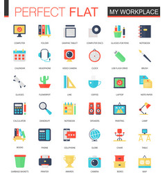 set flat my workspace icons vector image