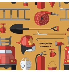 Set icons of firefighting equipment pattern vector