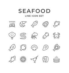 set line icons of seafood vector image