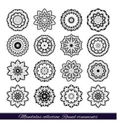 set of decorative ethnic mandalas outline vector image